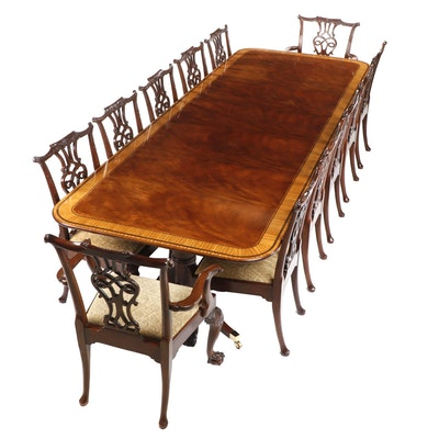 Baker Regency Satinwood Crossbanded Mahogany Table with 12 Chairs
