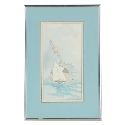 Watercolor and Ink Illustration of a Sailboat