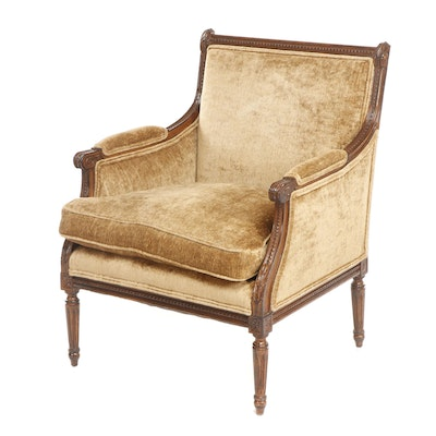 Louis XVI Style Gold Tone Upholstered Walnut-Finish Wooden Armchair