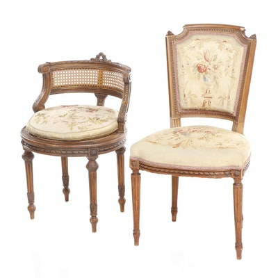 Pair of Louis XVI Style Carved Wood, Needlepoint Upholstered Chairs, 20th c