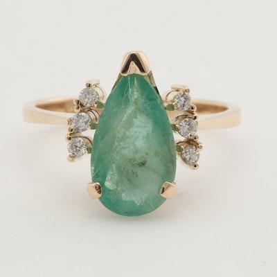 14K Yellow Gold Emerald and Diamond Ring, 3.25 CT