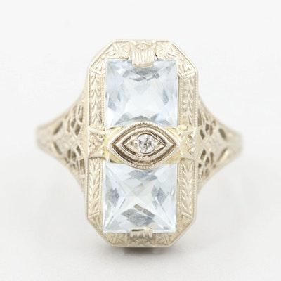 Ostby & Barton Art Deco 14K White Gold Aquamarine and Diamond Ring