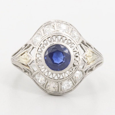 Edwardian Platinum Synthetic Sapphire and Diamond Ring