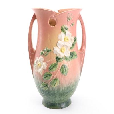 """Roseville Pottery """"White Rose"""" Vase, 1940s"""
