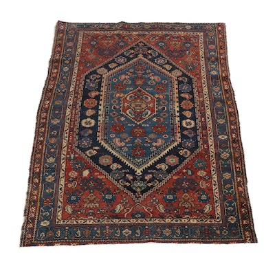 4.7' x 6.2' Hand-Knotted Persian Malayer Rug, Circa 1920s