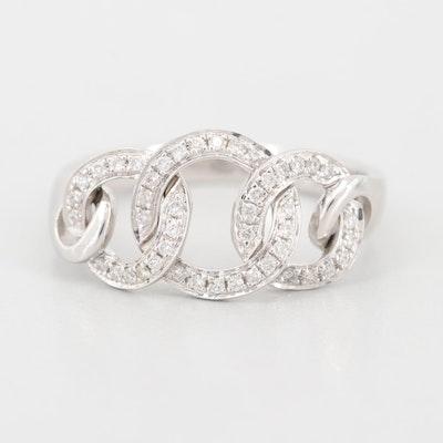18K White Gold Diamond Triple Circle Ring