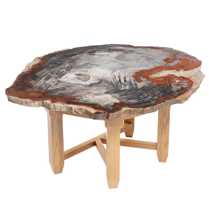 Russell-Zuhl Petrified Pine Coffee Table on Oak Base, 1997