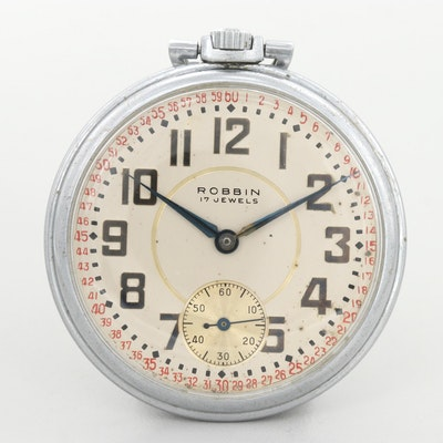 Vintage Robbin Silver Tone Swiss Made Open Face Pocket Watch