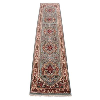 2.6' x 12.3' Hand-Knotted Indo-Persian Heriz Serapi Carpet Runner