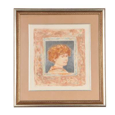 "Edna Hibel Lithograph ""A Boy David"""