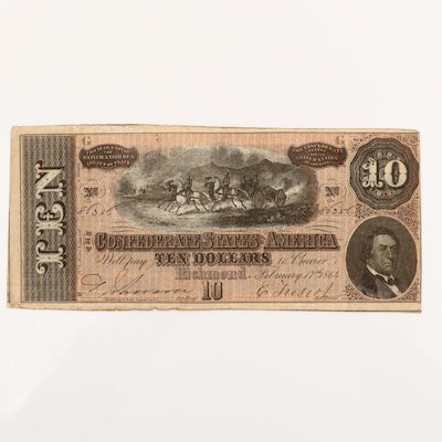 1864 Ten Dollar T-68 Obsolete Confederate States of America Currency Note