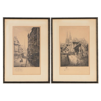 Early 20th Century French Street Scene Etchings