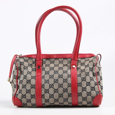 Gucci Boston Bag in GG Supreme Canvas and Red Leather
