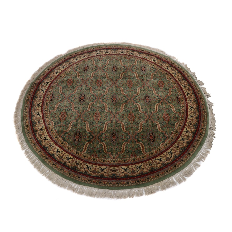 8' x 8'  Hand-Knotted Indo-Persian Tabriz Round Rug