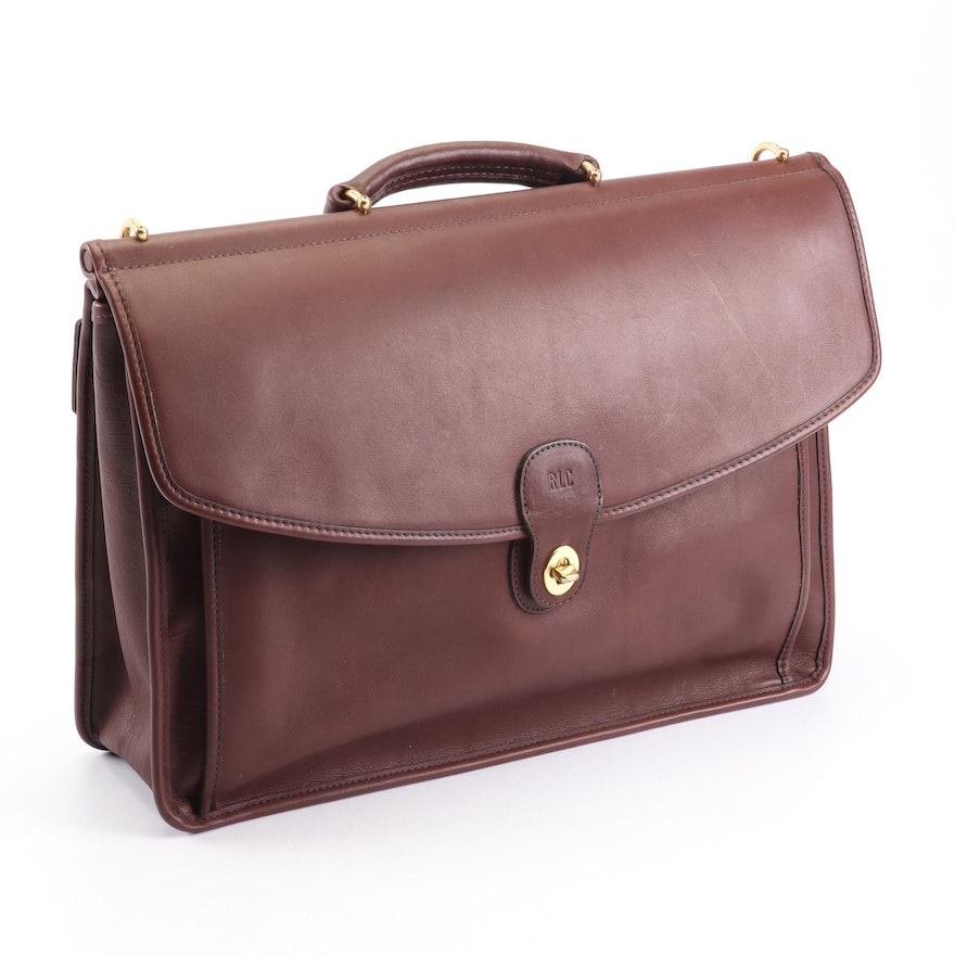 Coach Beekman Brown Leather Monogrammed Messenger Briefcase