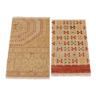 2' x 3' Hand-Knotted Indo-Turkish Oushak Rugs