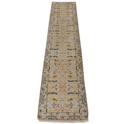 2.6' x 12.2' Hand-Knotted Indo-Turkish Oushak Carpet Runner