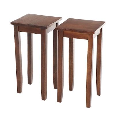 Pair of Contemporary Square Top Wooden Side Tables