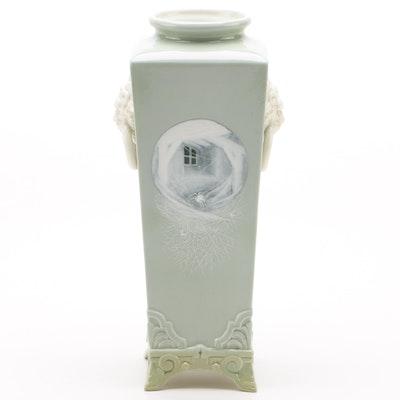 Royal Worcester Pâte-sur-pâte Vase on a Celadon Ground