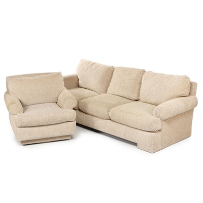 Contemporary Ménage Beige Upholstered Sofa with Swivel Armchair