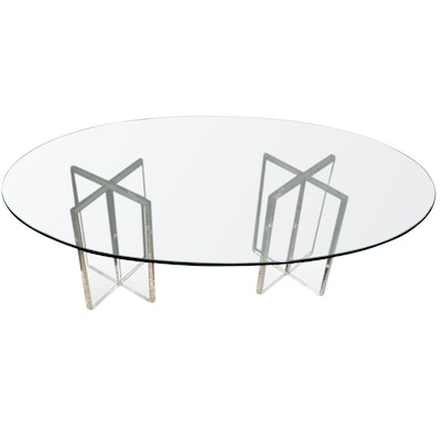 Oval Glass Top Coffee Table with Acrylic Bases, Contemporary
