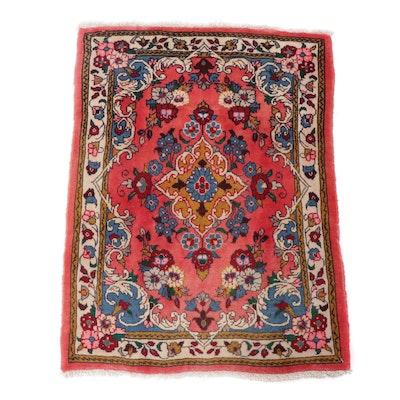 2.2' x 3' Hand-Knotted Persian Sarouk Rug, Circa 1970s
