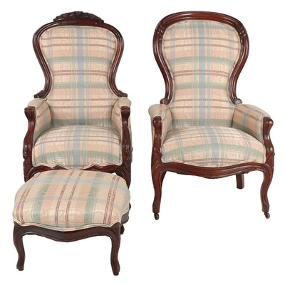 Pair of Upholstered Armchairs with Ottoman; Late 19th, Early 20th Century