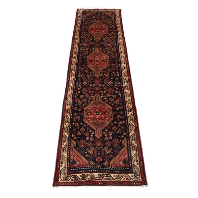 3.6' x 13.7' Hand-Knotted Persian Nahavand Carpet Runner, Circa 1970s