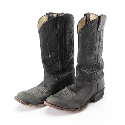 M.L. Leddy's Handmade Black Leather Western Boots