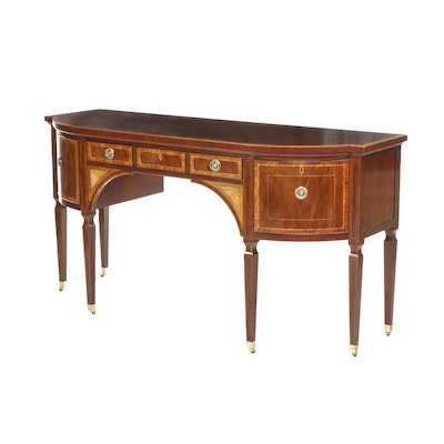 Baker Federal Style Satinwood Banded Mahogany Bow-Front Sideboard