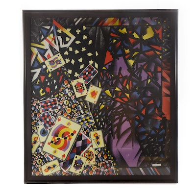 Framed Gianni Versace Playing Card Scarf, 1980s Vintage