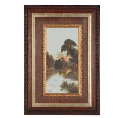 "B. Davis Oil Painting on Tile ""Bolton Abbey"""