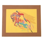 """LeRoy Neiman Serigraph """"Olympic Horse Jumping"""""""