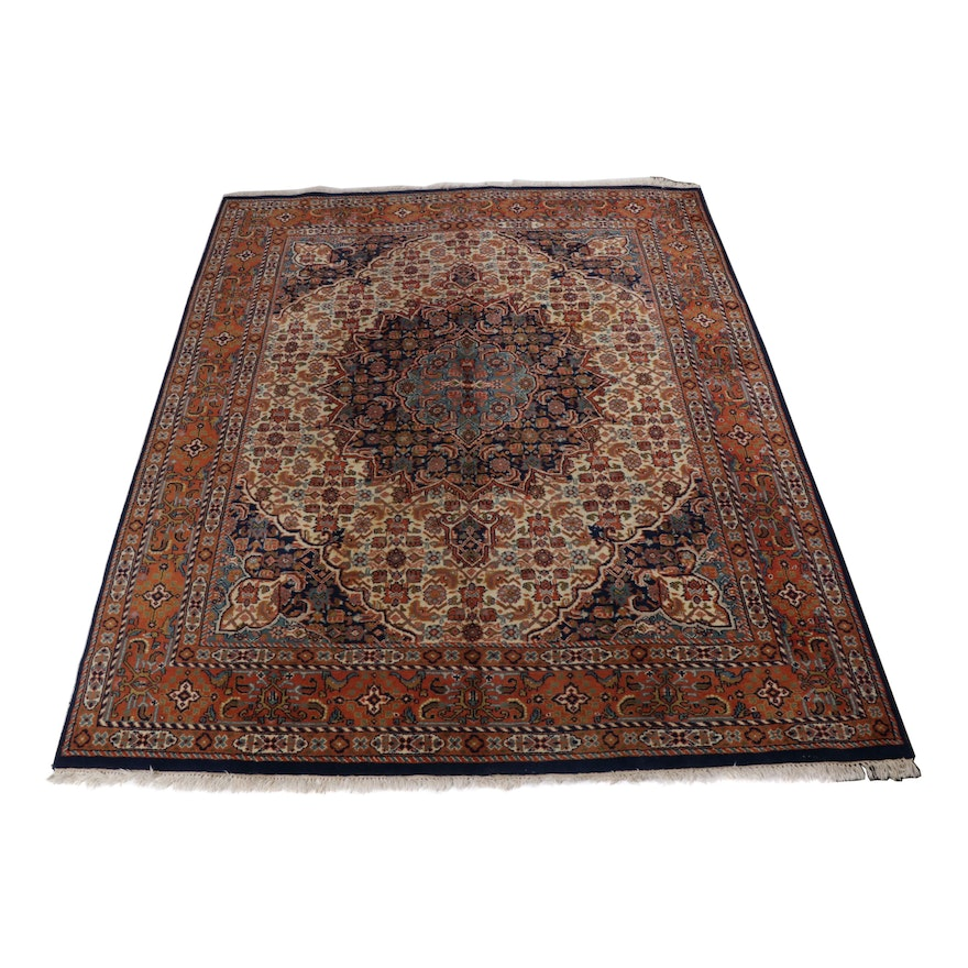 7.8' x 10' Hand-Knotted Indo-Persian Tabriz Room Sized Rug