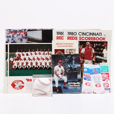 Brennaman Signed Baseball, '75 and '76 W.S. Tickets with Other Memorabilia