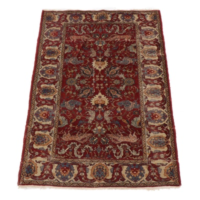 3.8' x 5.5' Hand-Knotted Persian Tabriz Pictorial Rug, Circa 1900s