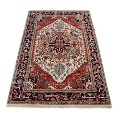 5.1' x 6' Hand-Knotted Indo-Persian Heriz Serapi Rug
