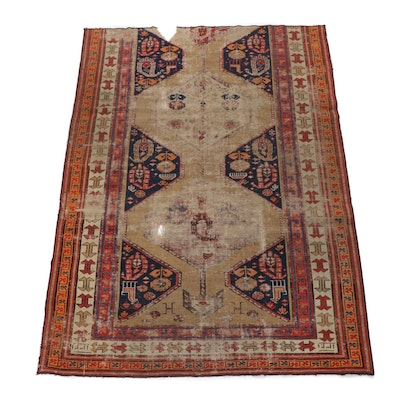 5.3' x 8' Hand-Knotted Northwest Persian Pictorial Rug, Circa 1880s