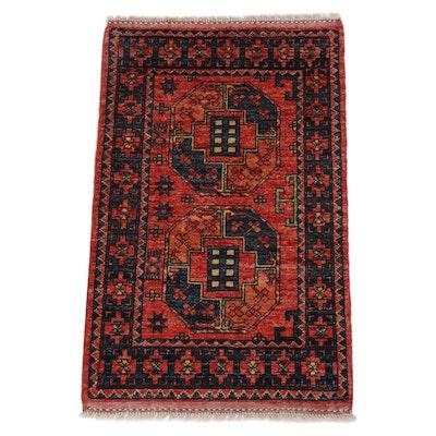 2.1' x 3.5' Hand-Knotted Afghani Turkoman Rug