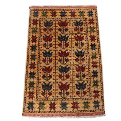 2.1' x 3.3' Hand-Knotted Afghani Turkish Oushak Rug
