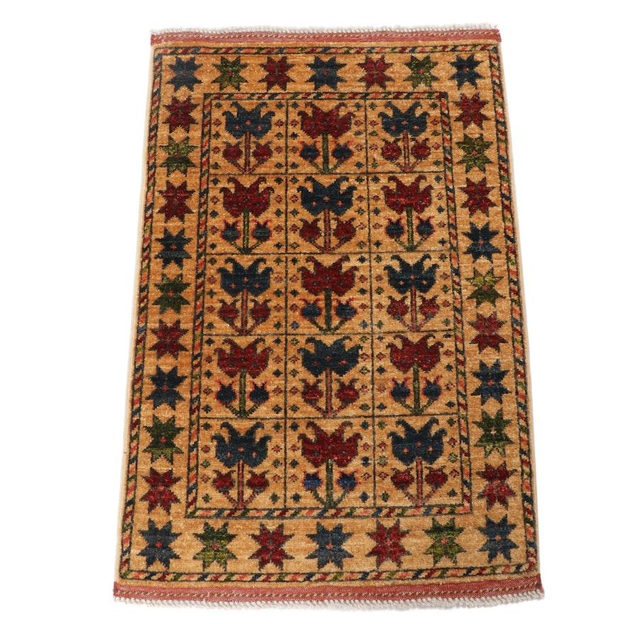 2.1' x 3.3' Hand-Knotted Afghani Turkish Oushak Rug