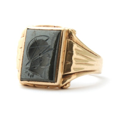 10K Yellow Gold Reverse Carved Cameo Hematite Ring