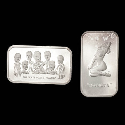 """Fine Silver Ingots Depicting Marilyn Monroe and """"The Watergate Gang"""""""