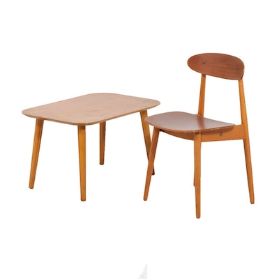 Swedish Modern Swedansk Side Chair and End Table, Mid-Century