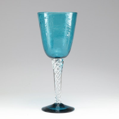 Winslow Anderson for Blenko Oversize Blue Crackle Goblet, Mid-Century