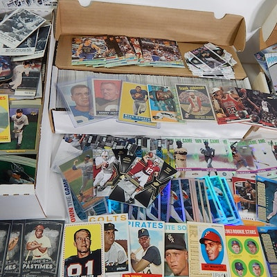 Sports Card Collection with Baseball, Football, Basketball