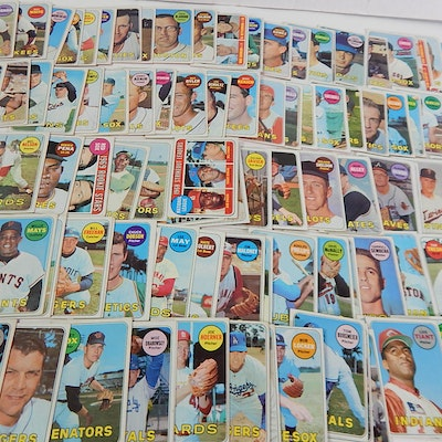 1969 Topps Baseball Cards with Mays, Gibson, Jenkins and More