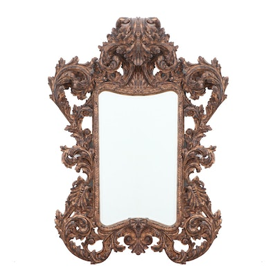 Large Renaissance Style Hand Carved Giltwood Beveled Mirror, Contemporary