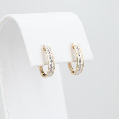 10K Yellow Gold Diamond J-Hoop Earrings