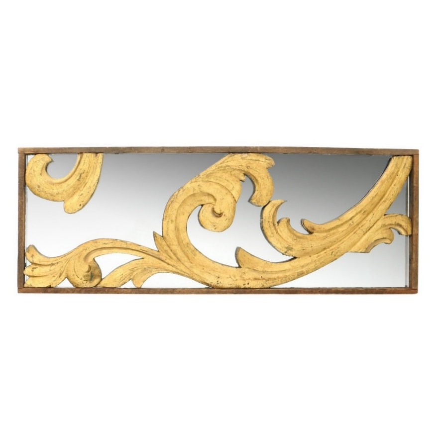 Carved Foliate Giltwood Architectural Element with Mirrored Backing, Antique